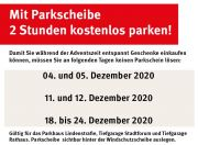 Gratis Parken in der Adventszeit